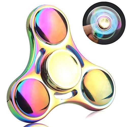 Spinner de mano Fidget Hand Spinner QcoQce S1 Arco iris colorido EDC Tri Fidget Mano Spinning Toy Tiempo asesino Reductor de estrés de alta velocidad Focus Toy Regalos Perfecto para ADD, ADHD, ansiedad, aburrimiento y autismo Adultos Niños